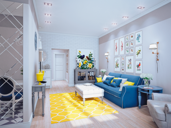 Blue and yellow home decor for Living room ideas yellow and blue