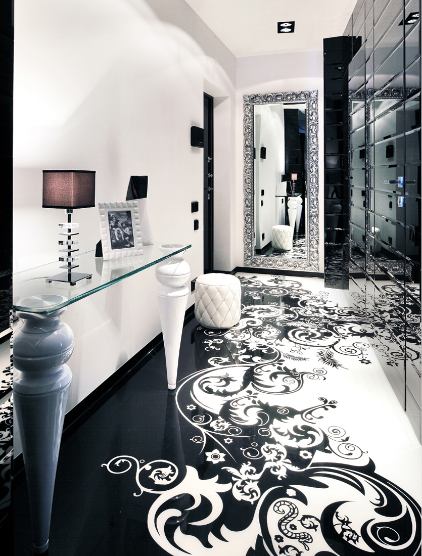 Black and white graphic decor for Floor decoration designs