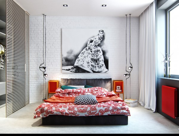 Contrasting patterns and colors make a fun design statement in the bedroom.
