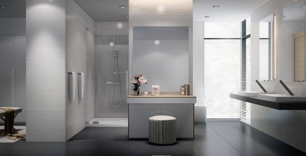 A bathroom layout made for two.