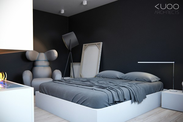 black gray white bedroom