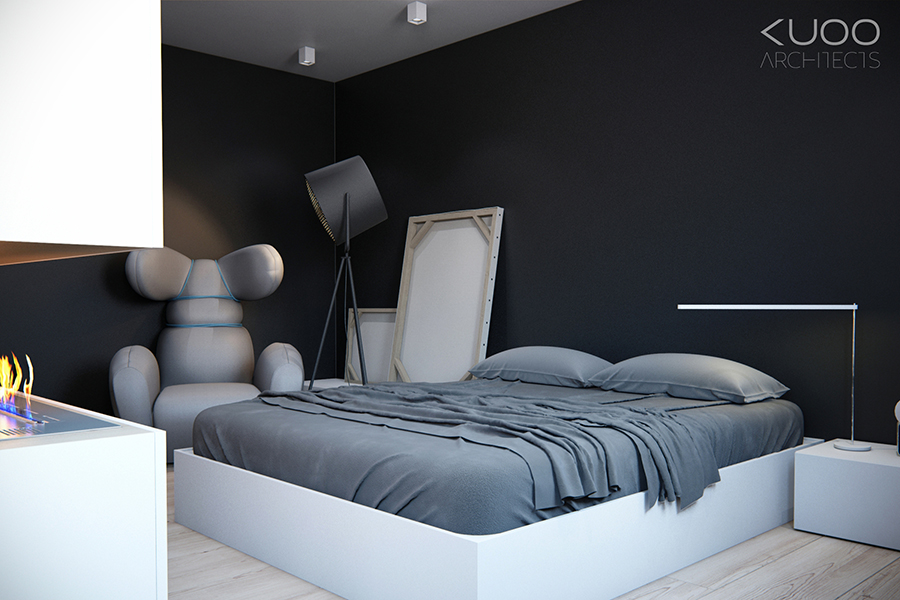 Superb Black Gray White Bedroom