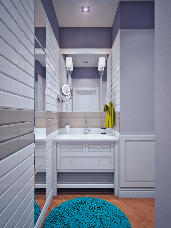 The true blue and yellow accents of the home transform as they reach the bathroom into aqua and chartreuse statements.