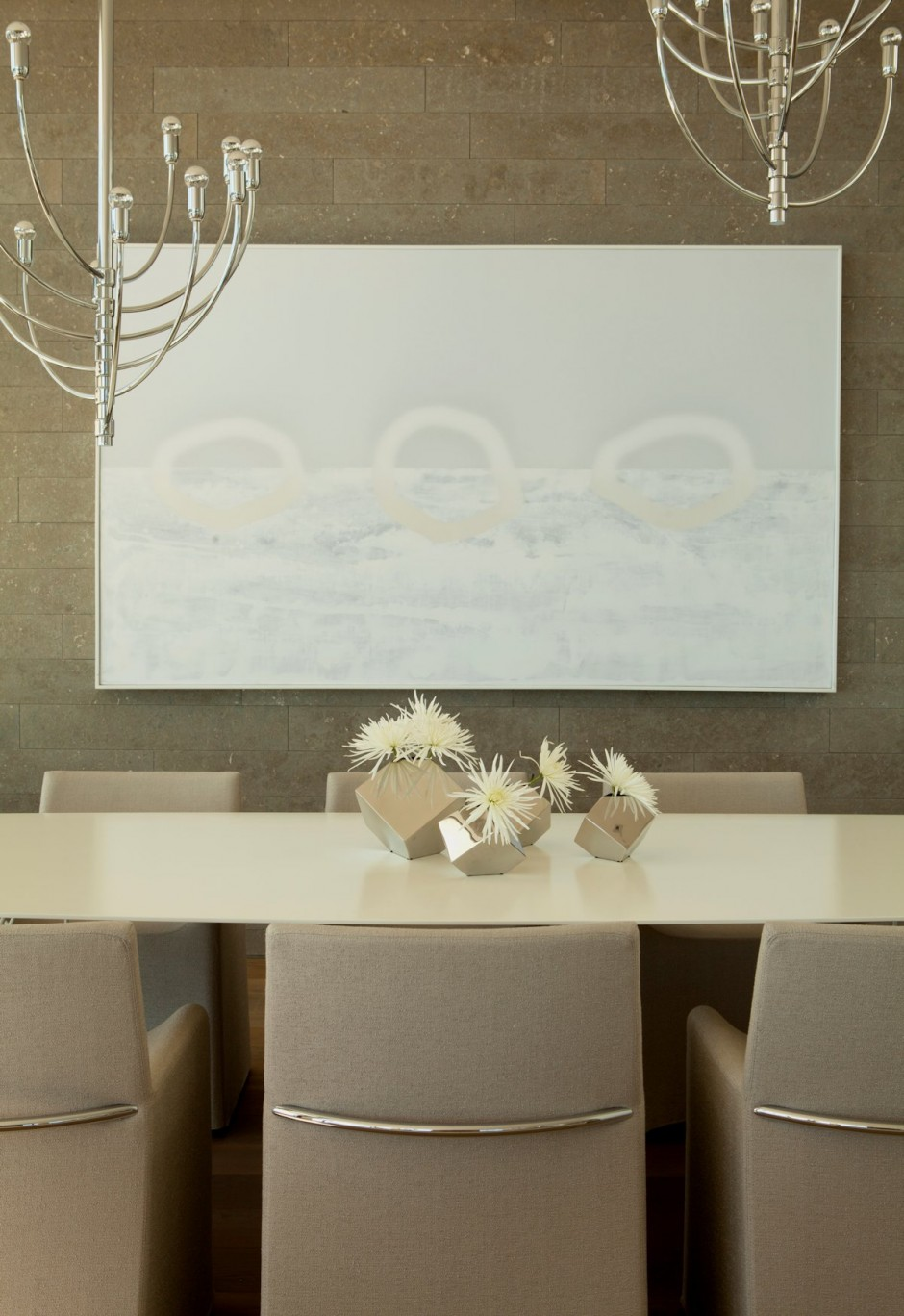 Beige Dining Chairs - Oceanfront house with pool california