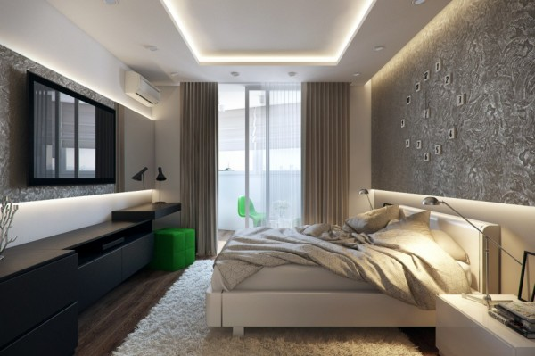 White green black bedroom