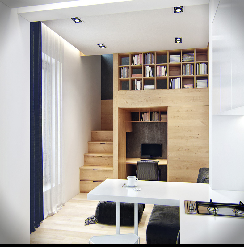 wooden staircase small rooms kitchen storage solutions spaces apartment storage furniture