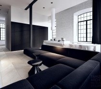 This black and white interior vision is a striking loft in the complex 'Scheibler' in Lodz, with a useable area of 64 m2. White washed brick walls form a blank canvas, and a huge black sofa parades the perimeter.