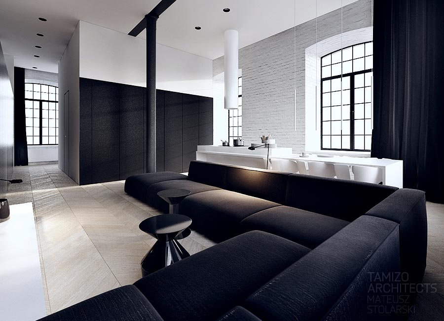 This black and white interior vision is a striking loft in for Black in interior design