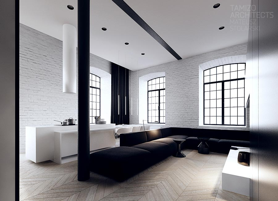 Interior design in black white for Loft apartment interior design