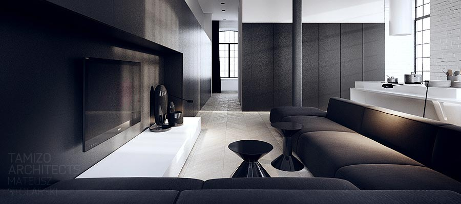 Interior design in black white for Black grey interior design