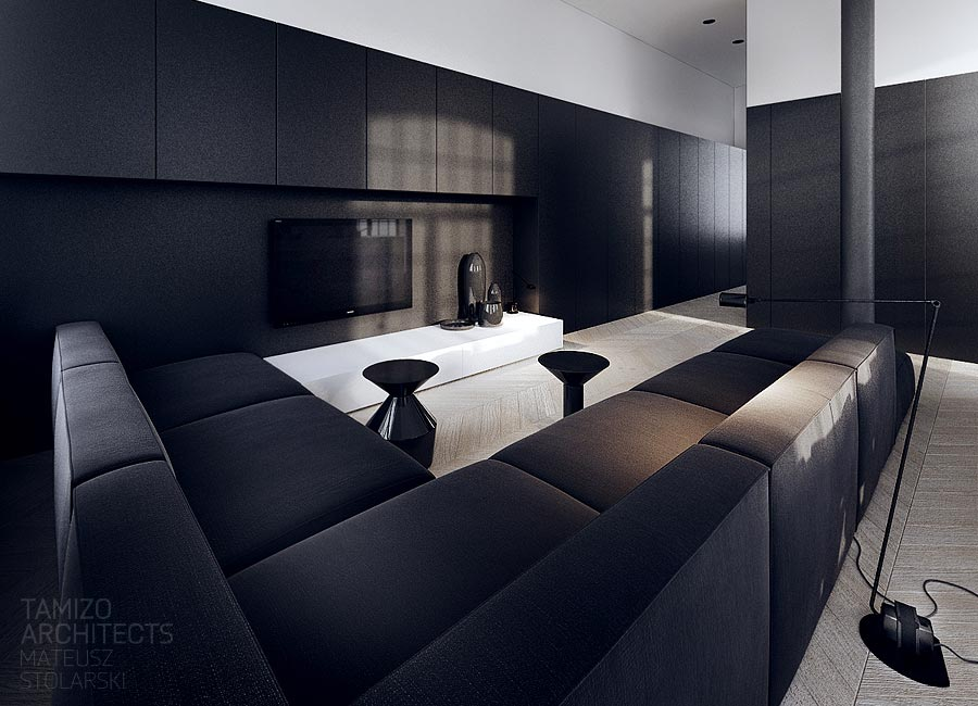 Black Sofa Lounge Interior Design Ideas