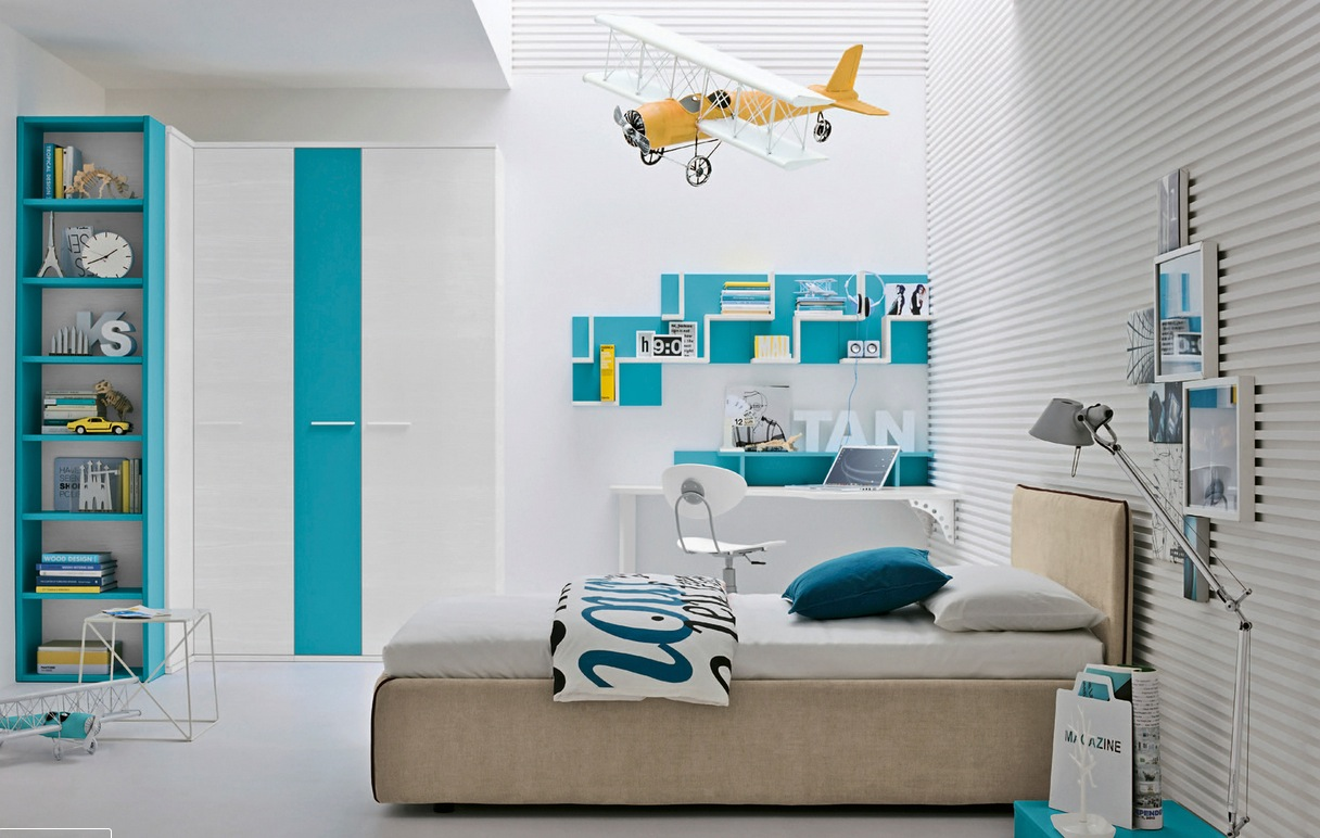 Aqua and Yellow Teen Bedroom Ideas 1216 x 772