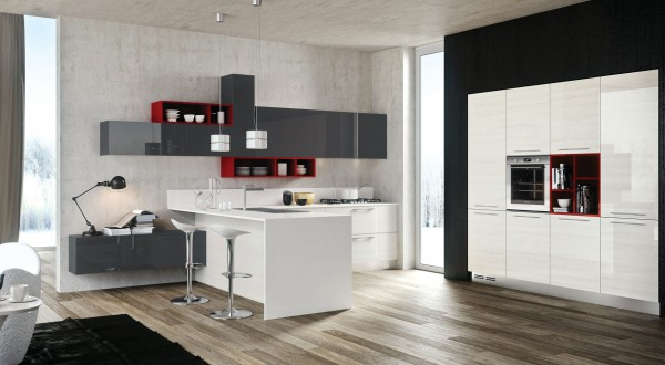 Red gray white kitchen
