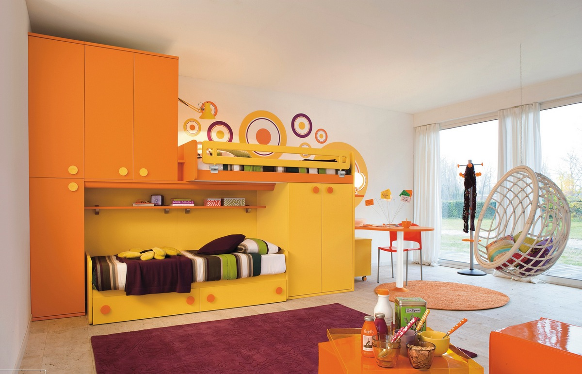 Yellow orange kids room | Interior Design Ideas.