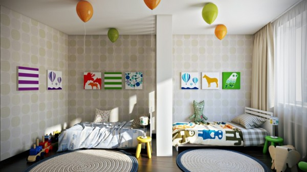 Against the same subtle wallpaper print, several works of bold graphic art have been hung to liven up this shared children's room.