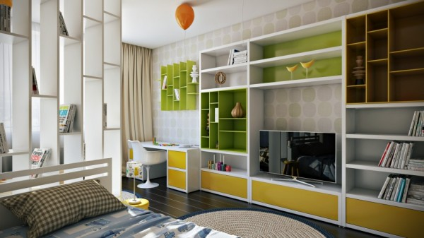 Green yellow kids bedroom