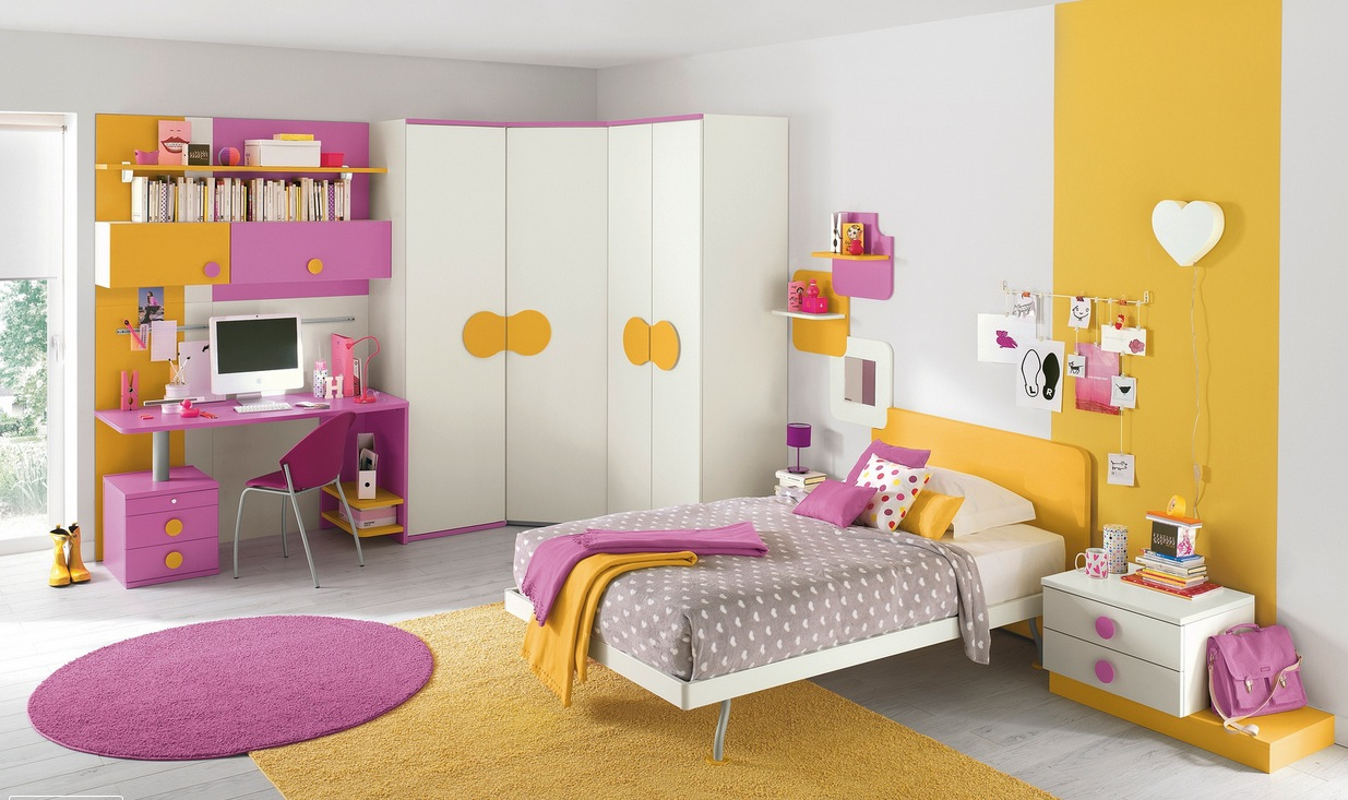 Pink yellow girls bedroom interior design ideas Designer girl bedrooms pictures