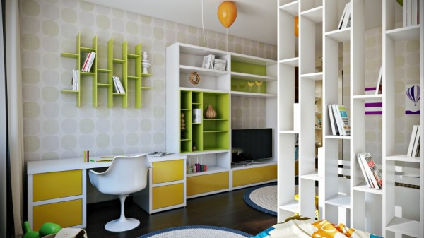 More bright shelving decorates the opposite wall.