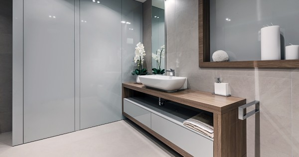 Gray gloss bathroom cabinets