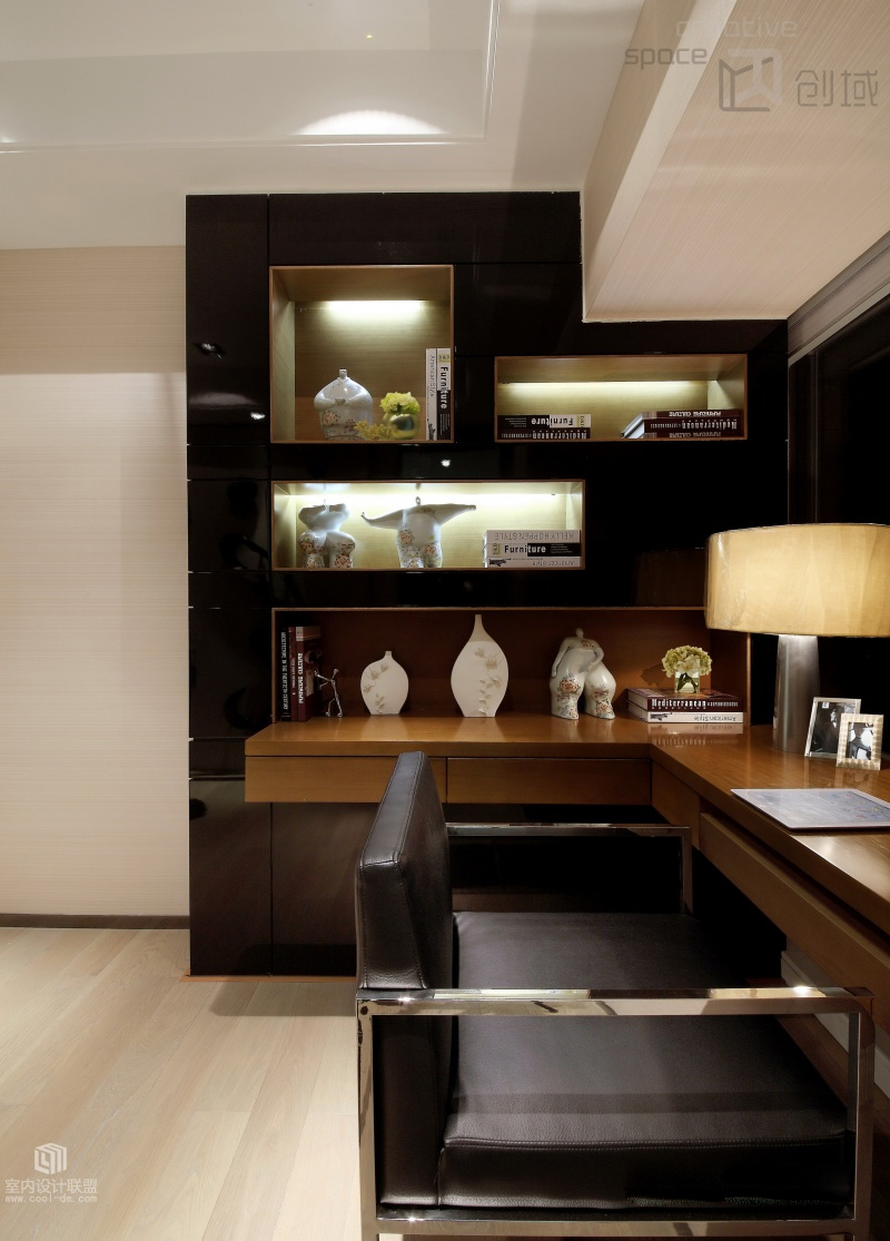 Sophisticated home with asian tone for Home office decor pictures