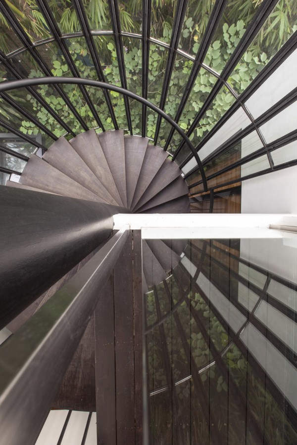 A large spiral staircase winds up through the leafy scenery.