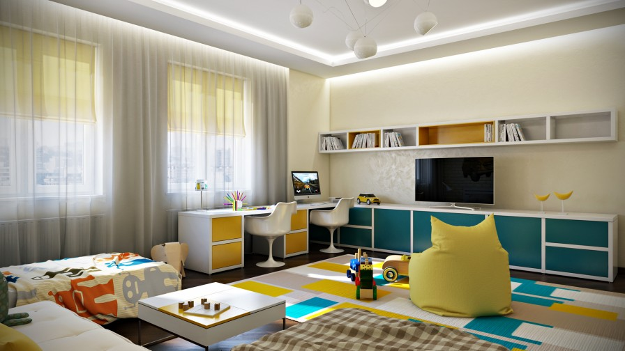 Blue Yellow Shared Kids Room Interior Design Ideas