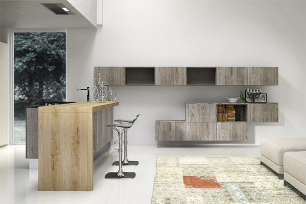 Mix and match wood tones can give a cool effect, as can irregularly hung modular wall cabinets.