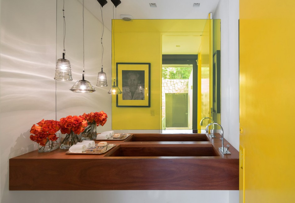 Yellow Bathroom Decor - Sunny open plan limantos residence