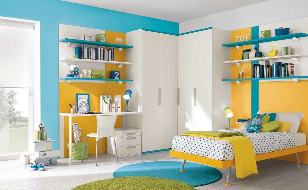 Blue yellow white bedroom decor interior design ideas - Room kids decoration ...