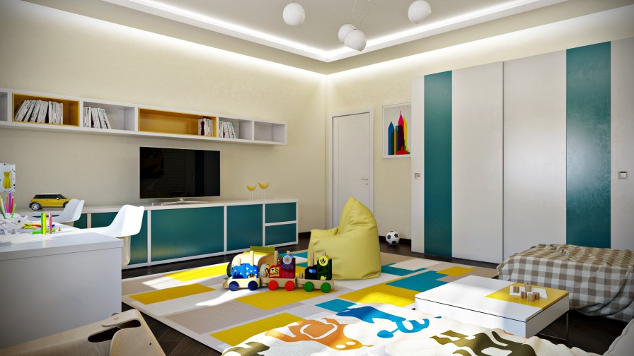 Teal Yelllow Kids Room - Crisp and colorful kids room designs