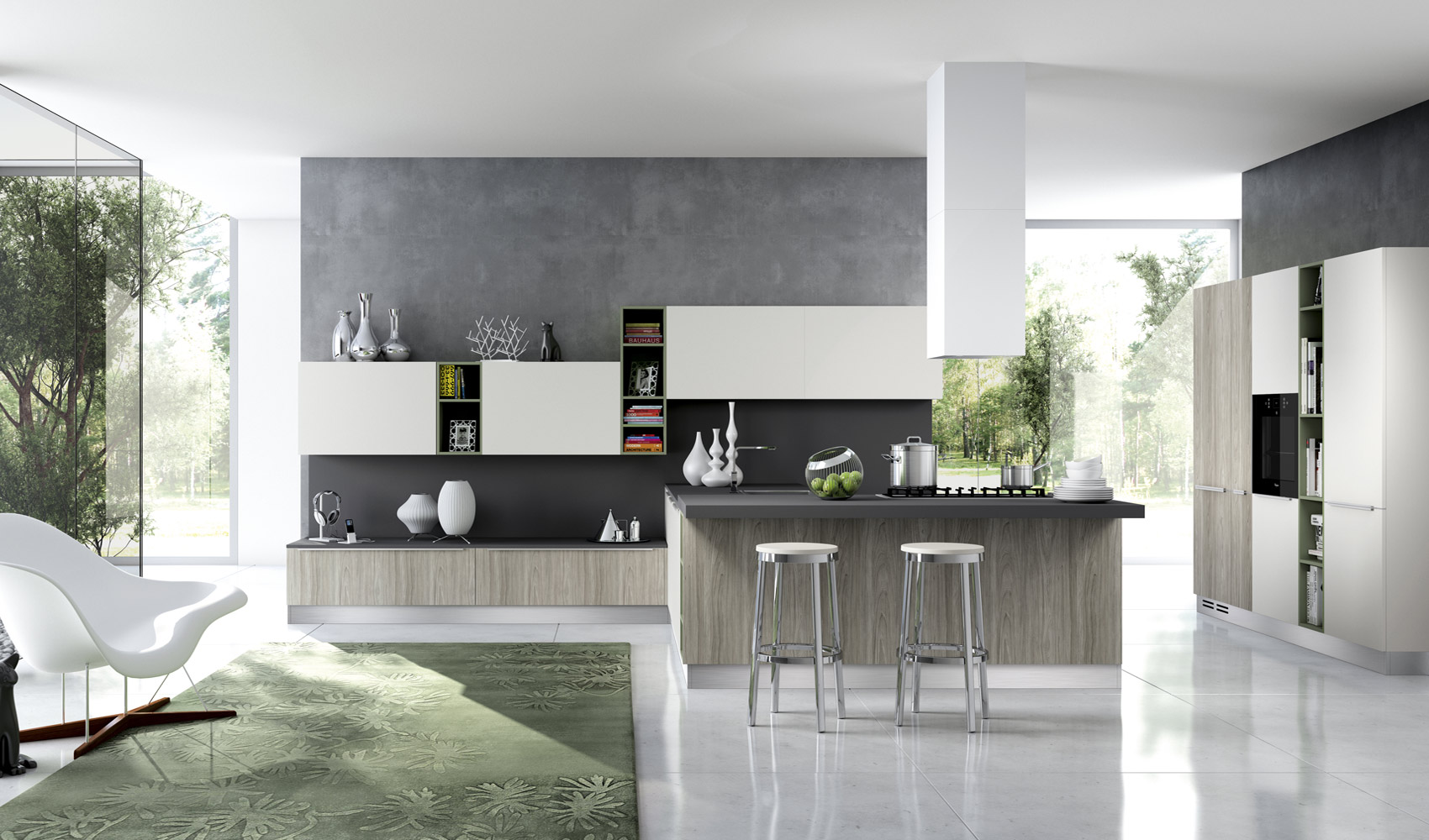 Kitchen designs that pop - Cuisine blanche contemporaine ...