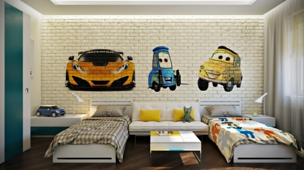 A wall mural of your child's favorite animated movie characters could be the key to bringing their bedroom scheme to life, and in a shared bedroom design like this it could also be the key to making each child feel that they have placed their own stamp on the place. In this room, the younger child's bed covers have been made more fun with the addition of a funky throw.