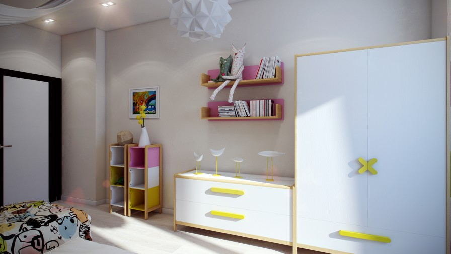 Yellow White Kids Furniture - Crisp and colorful kids room designs