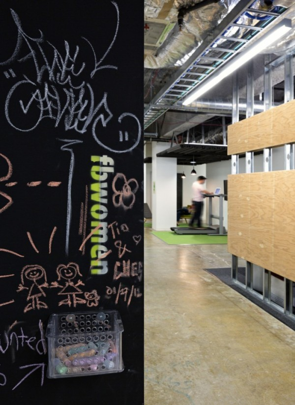 Many walls around the building have been designed as scribble walls, where employees can jot messages to one another, or simply have fun and express themselves. Facebook actively encourages it's budding serious artists too, by having an artist in residency program providing them an outlet to which they can contribute.