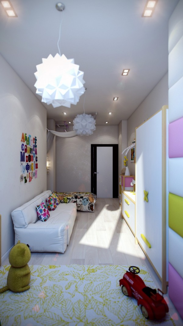 White kids room with colorful accents