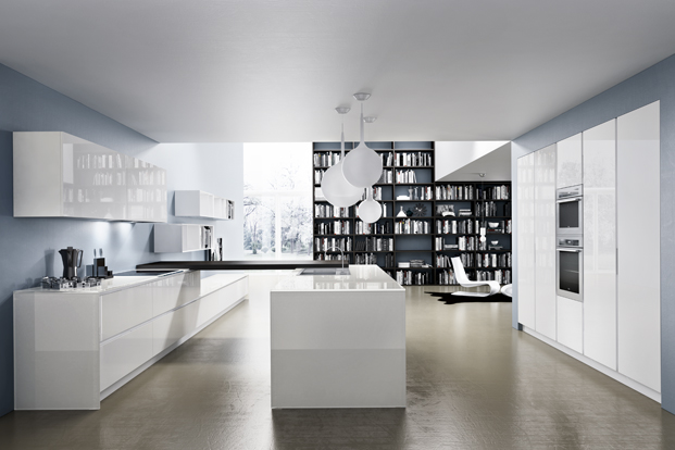White Gloss Kitchen - Kitchen designs with unusual choices