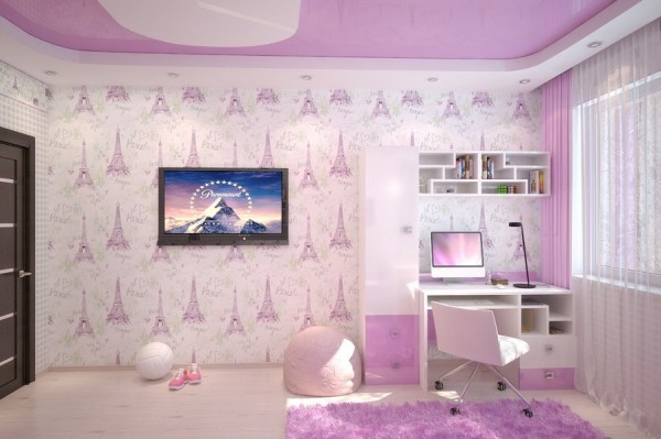 Pink white girls room