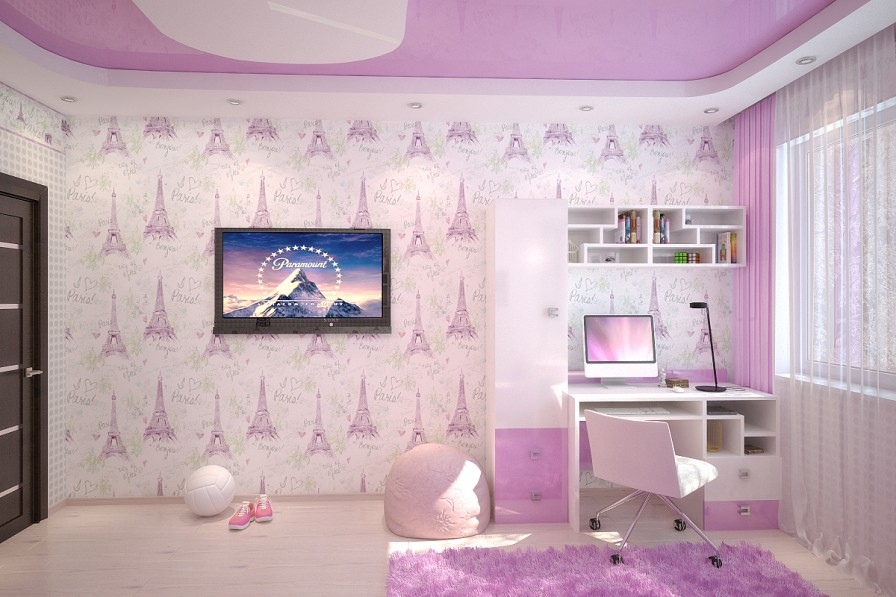 Pink White Girls Room - Crisp and colorful kids room designs