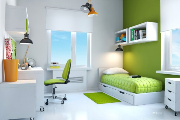 Green white kids bedroom