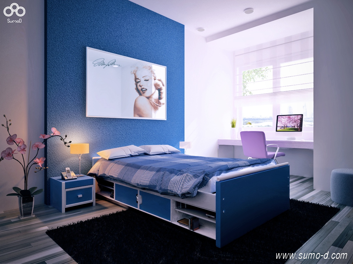 Blue purple kids room interior design ideas for Blue purple bedroom ideas