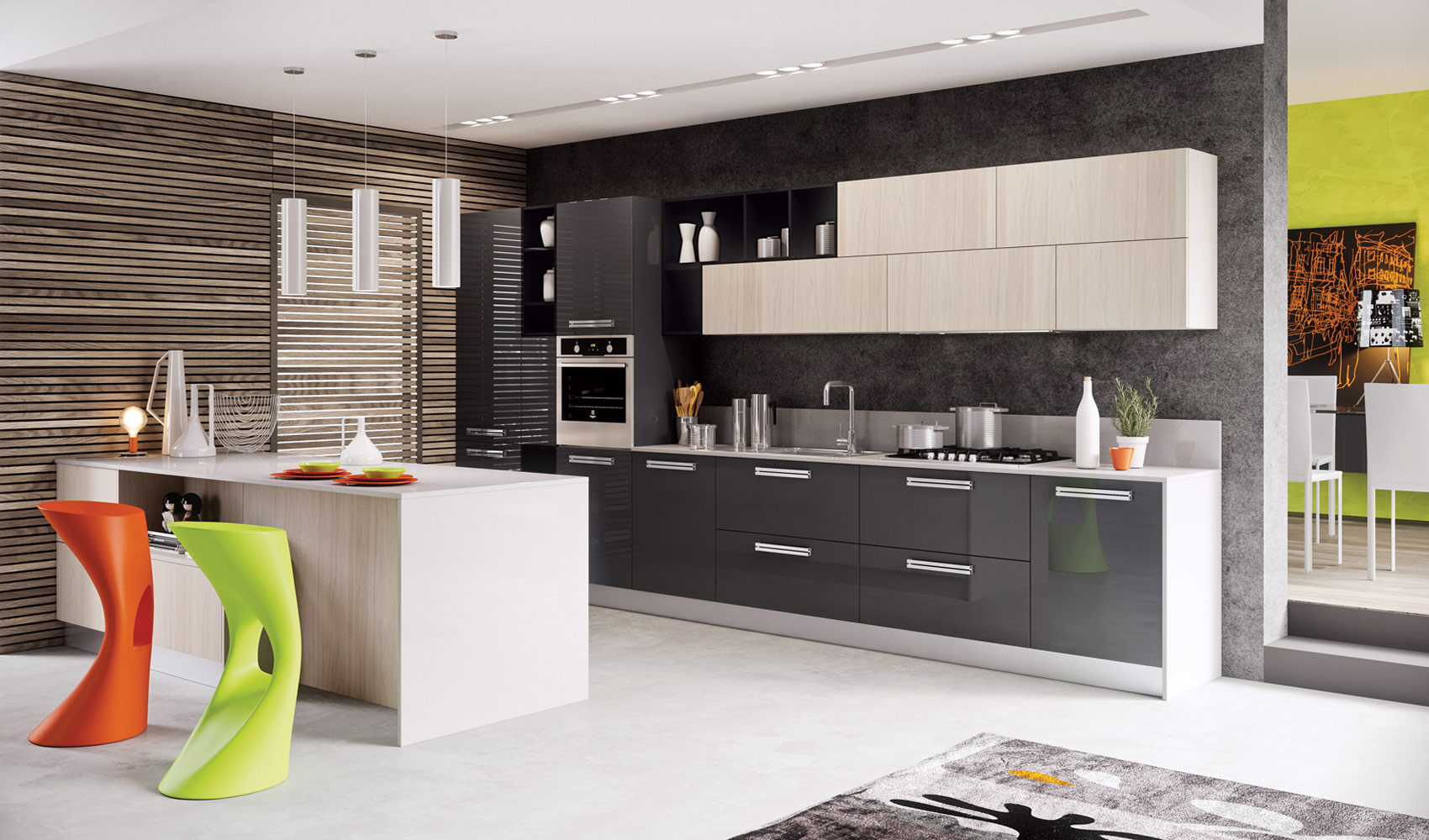 Kitchen designs that pop for Contemporary kitchen designs 2014