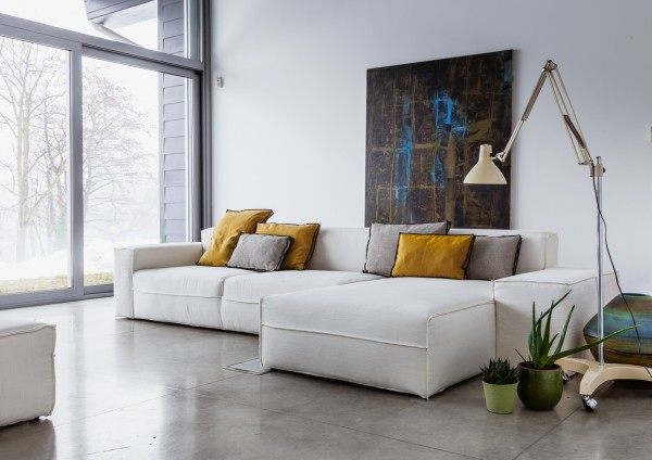 White L shaped sofa