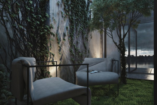 In a welcome relief to the heavy man-made industrial look, a small light well holds a lush green mini garden, where two unusual chairs soak up the softness of nature.