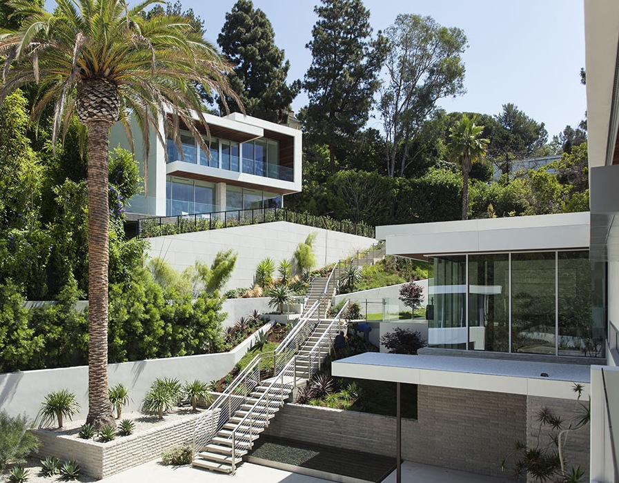 Contemporary architecture and interiors on sunset strip for Modern house exterior stairs