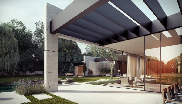 The roof of the building extends over some of the exterior living areas to blur the boundaries between house and garden further.