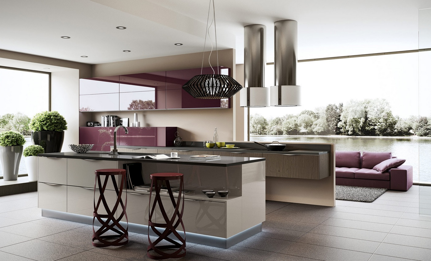 Purple Kitchen Units Interior Design Ideas