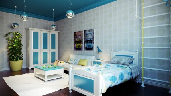 Blue white kids bedroom scheme