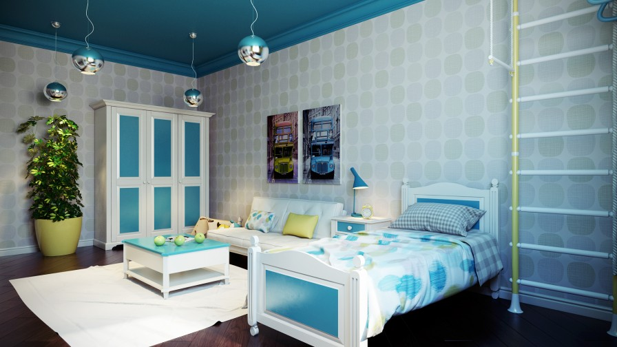 Crisp and colorful kids room designs for Sea green bedroom designs