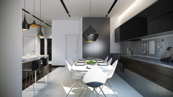 The kitchen units are dark and dramatic, with a complimentary gray backsplash.