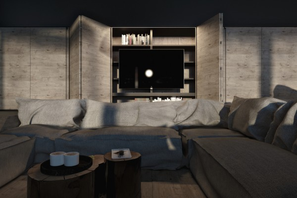 Three simple tree stumps of differing circumference form a tri-level coffee table in the sofa pit. A home library nestles around the TV screen on in-built shelves.